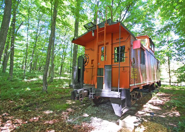 The Caboose at the base of the Sleeping Bear Dunes!