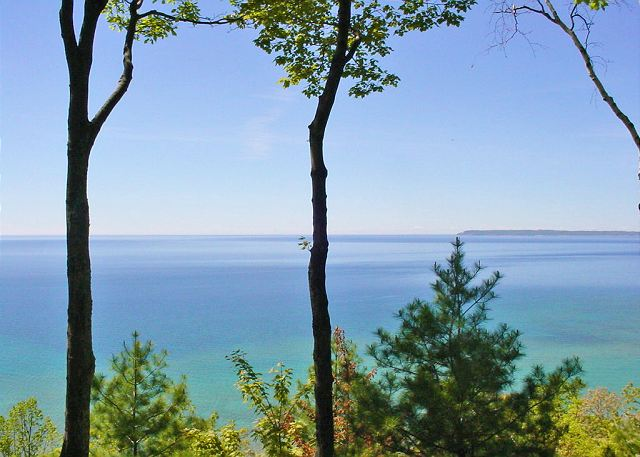 Views of Lake Michigan and South Manitou Island from the deck.