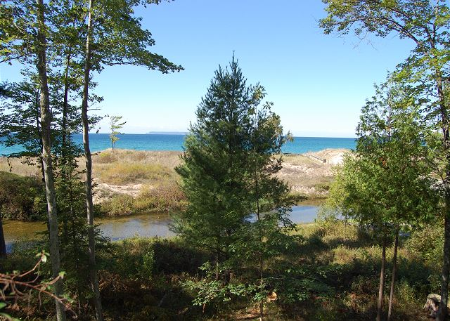 View of Crystal River and Lake Michigan from the deck.