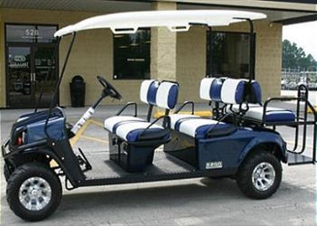 LIP002 - Blue 6 Seat Gas Golf Cart | Life in Paradise