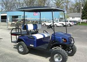 Blue 4 Seat Gas Golf Cart