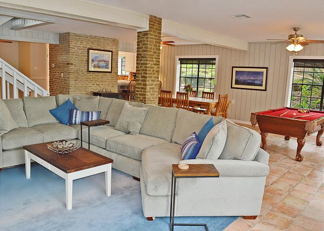 The perfect place for friends and family to gather.  The family room offers space to watch television, play a game of pool, enjoy a meal or head outside to the dock.