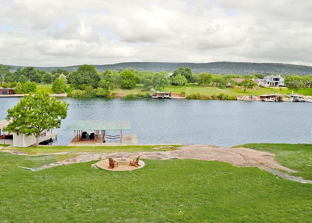 Enjoy the expansive view of the Colorado Arm of Lake LBJ, the Hill Country beyond and beautiful sunsets.