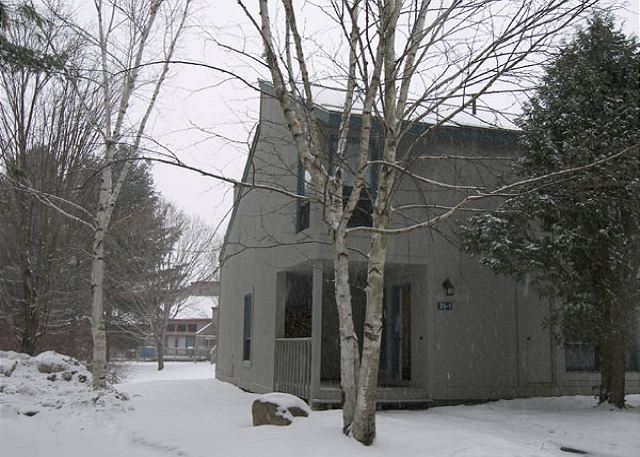 Winter view of the outside of the townhouse.