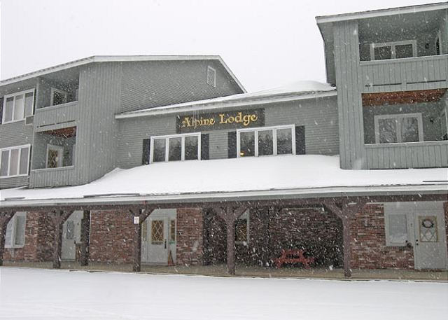 Outside the front of Alpine Lodge.  Alpine Lodge 118 is more easily accessed by the rear entry.