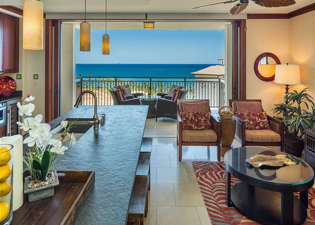 Direct Ocean Views from the Kitchen, Dining, Living Area