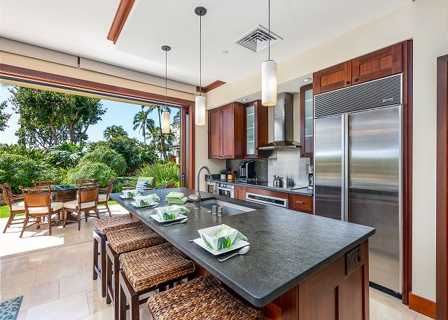 Kitchen with outdoor views