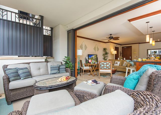 Lanai area flows seamlessly into the living area