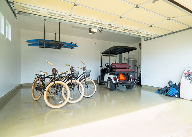 Garage with Resort Amenities, Bikes, Surfboards, and Golf Cart