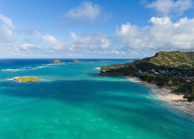 Kailua beach overhead view