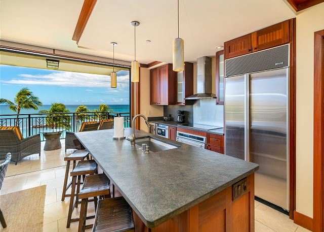Beachfront kitchen view