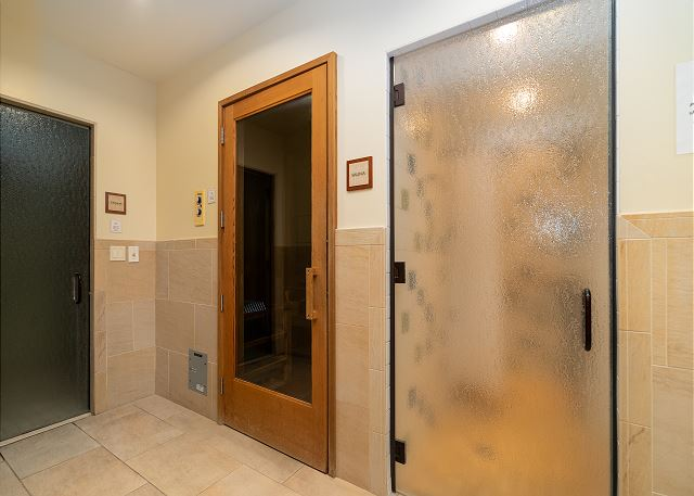 Sauna and steam rooms at fitness center