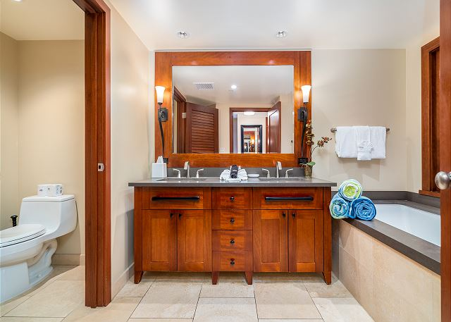 Double sinks and soaking tub in Master bath