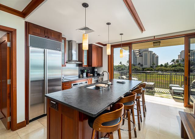 Gourmet Kitchen with outdoor view