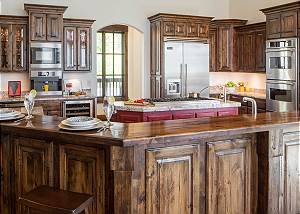 Kitchen - Hardwood Counters and Granite Island