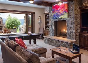 Game Room - Pool Table and Fireplace