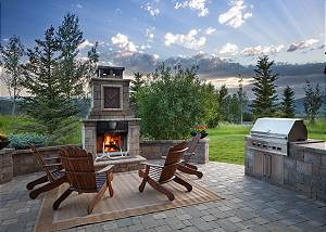 Patio - Stone Fireplace and Chrome Grill