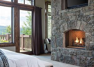 Master Bedroom - Fireplace and Deck Doors