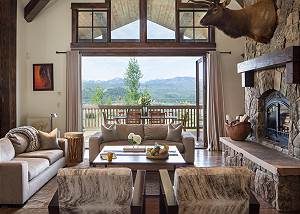 Great Room - Seating, Fireplace, and Mountain Views