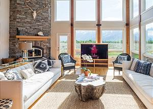 Great Room  with Mountain Views and Wood Fireplace