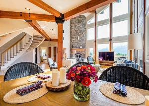 Dinning Room Table With Wood Beams