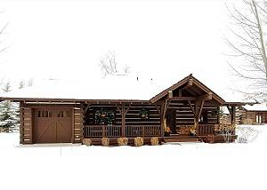 The snow-covered cabin