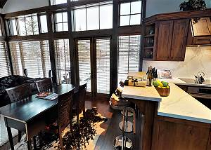 Great Room - Dining Table and Stone Counter