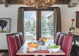 Dining Area - Table and Antler Chandelier