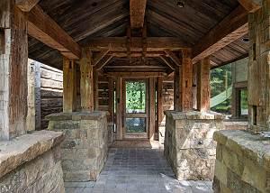 Front Entrance - Earthen Pillars