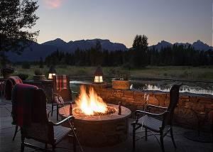 Patio - Fire Pit and Teton Sunset