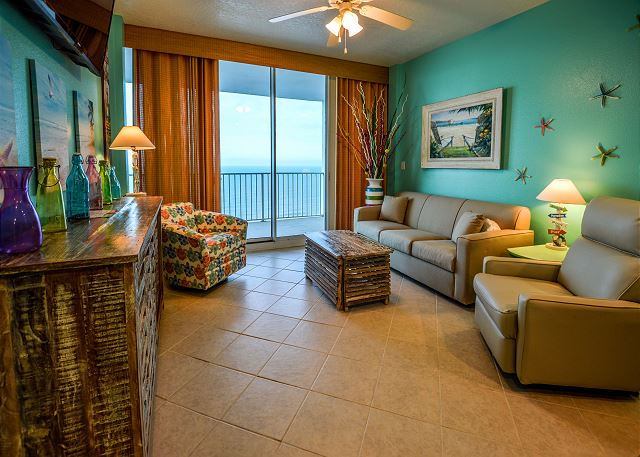 The Spacious Living Area Features A Sofa Sleeper, A Comfy Recliner And An  Additional Chair For Extra Seating. This Unit Offers Endless Views Of The  Gulf Of ...