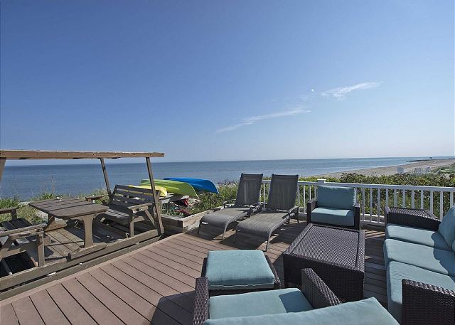 Plenty of seating on the deck for dining, relaxing, or visiting.