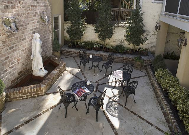 Courtyard with Imported Italian Antique Fountain