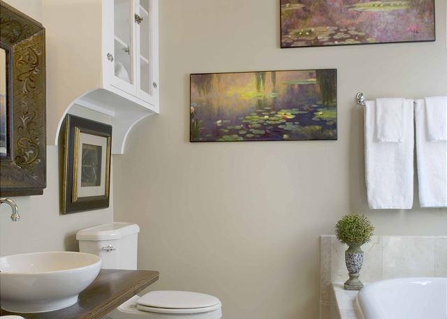 Bathroom with farm table converted sink