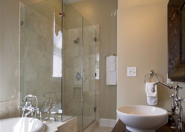 Marble shower and air tub