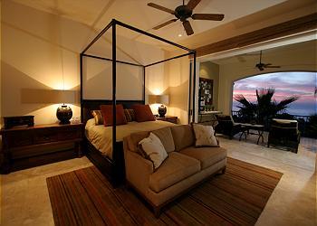 Villa Pamela's master suite, with pocket doors.