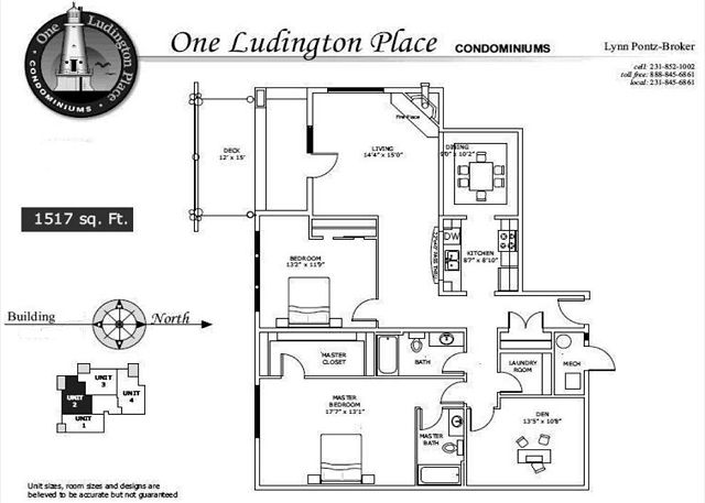 This is approximate layout of Floor Plan 2 at One Ludington Place Condominium Complex.
