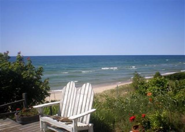 View of Lake Michigan from deck.