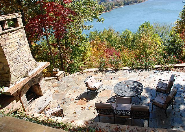 Nice large patio with fireplace and awesome views of Lake Chatuge and the North Georgia Mountains.