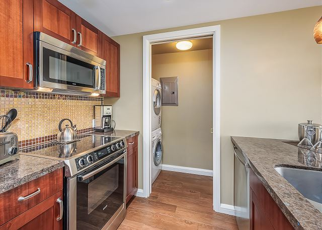 With washer and dryer in unit!