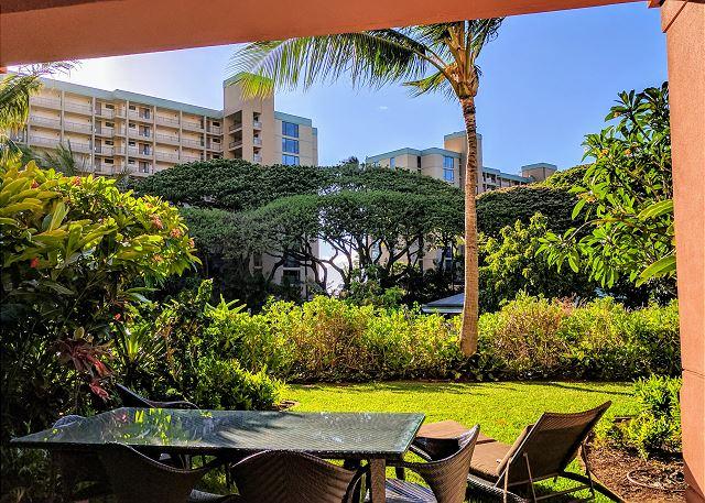 Private patio and lawn