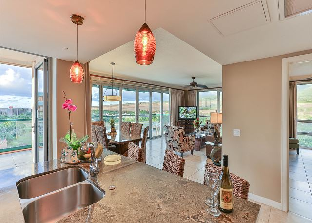 Kitchen island in our open floor living area