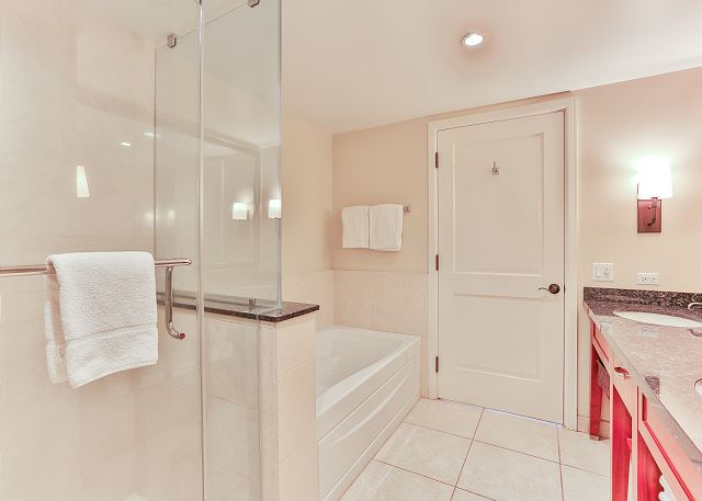 Bathroom with standing shower and tub