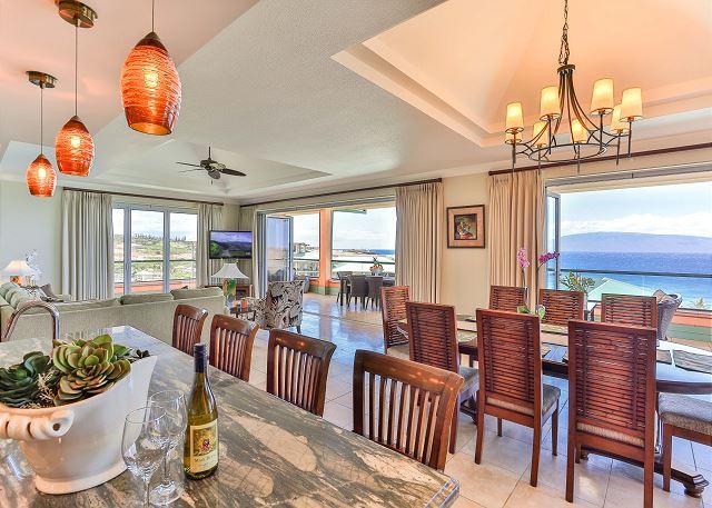 Kitchen island with ocean view