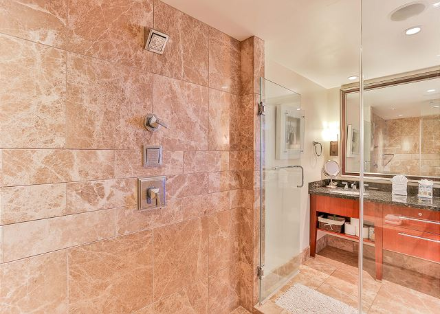 Master Bathroom's large shower with dual shower heads