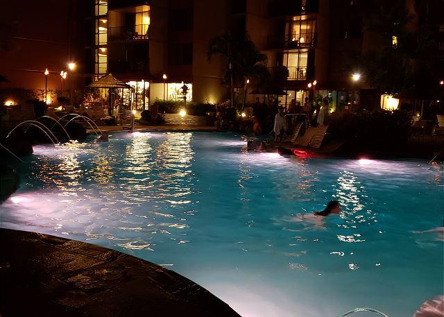 Garden pool night