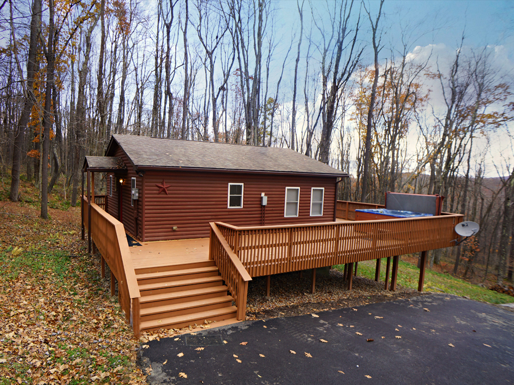 Log cabin in the woods by a lake - Unit Action Links
