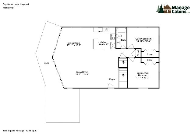 The main floor features an open floor plan with large dining room, kitchen, two bedrooms and a bathroom