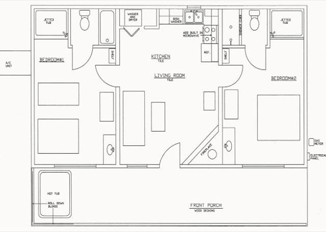 Cabin's floor plan with furniture outlines