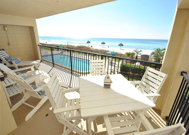 Patio overlooking the pool and the beautiful Gulf of Mexico